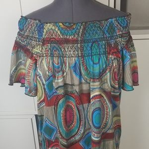 Multi-colored flowy blouse